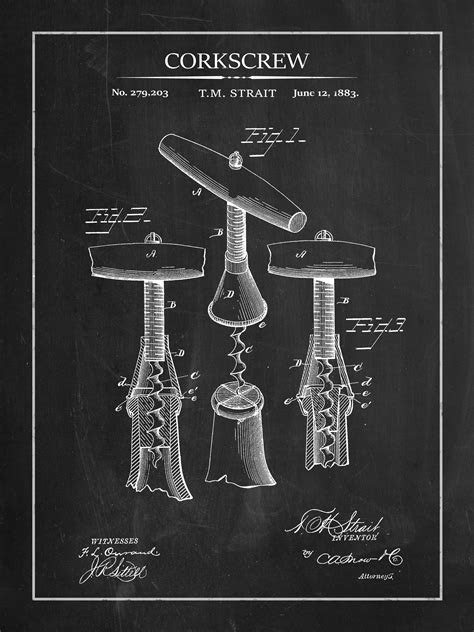 Vintage Corkscrew Patent Print | Rustic Wall Decor