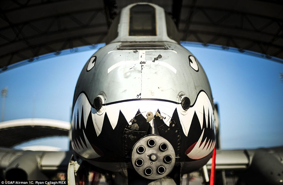 Jet: An A-10C Thunderbolt II sits under a sun shade at Moody Air Force Base, Georgia, the A-10's primary weapon is a single 30mm GAU-8/A seven-barrel Gatling gun. It can also carry up to 16,000 pounds of mixed ordnance such as cluster bomb units, joint direct attack munitions and AIM-9 Sidewinder missiles