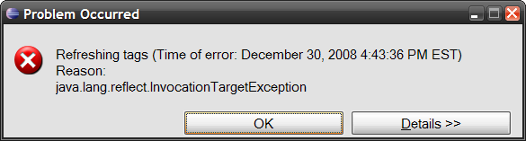 InvocationTargetException thrown by Eclipse trying to do a 'Refresh Tags'