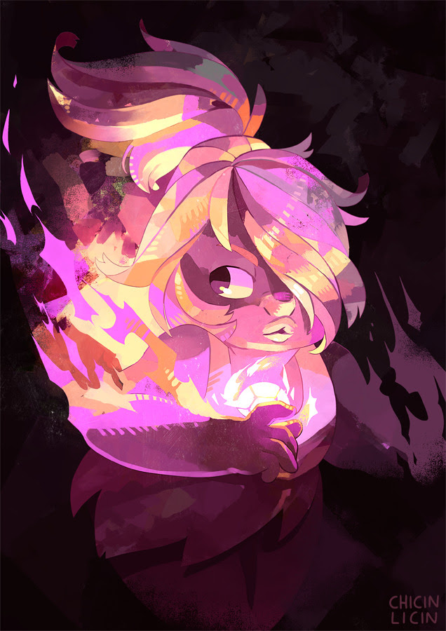 Been in the mood to do some colourful painty stuff :O …also to draw Amethyst with her hair back.
