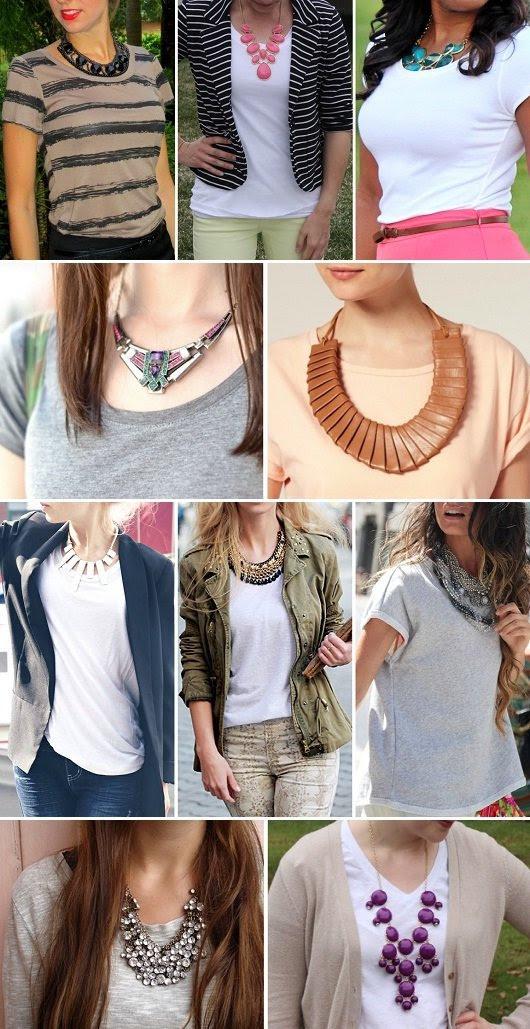 Moda maxi biju - camiseta + maxi colar