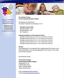 Professionelle E-Mail Vorlage für Ergotherapeutische Praxisgemeinschaft Altegoer & Mahlich von Webdesign-Agentur aus Essen