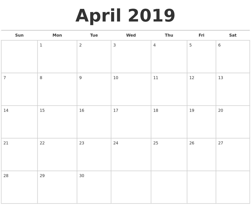 april 2019 calendars free