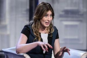 "Italian Minister for Reforms, Maria Elena Boschi, during the Italian RAI Tv program ""Porta a porta"""