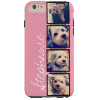Instagram Photo Display - 4 photos pink name Tough iPhone 6 Plus Case