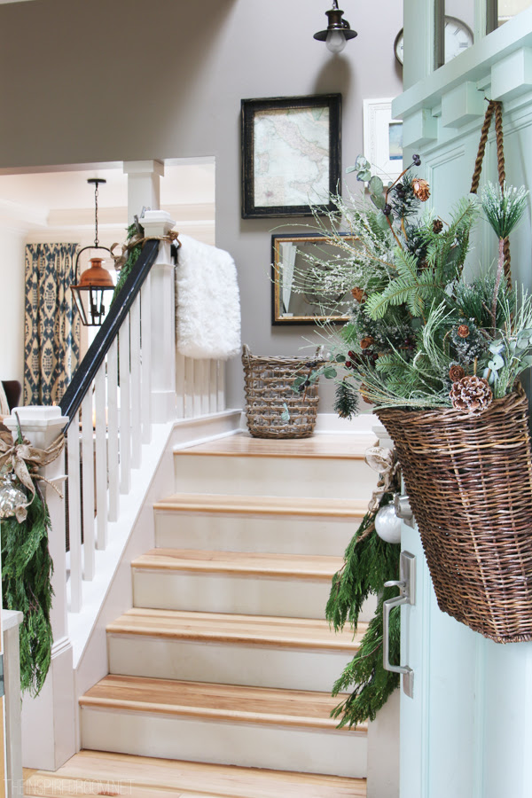 Christmas Entry Staircase Decorating - The Inspired Room Blogger House Tour