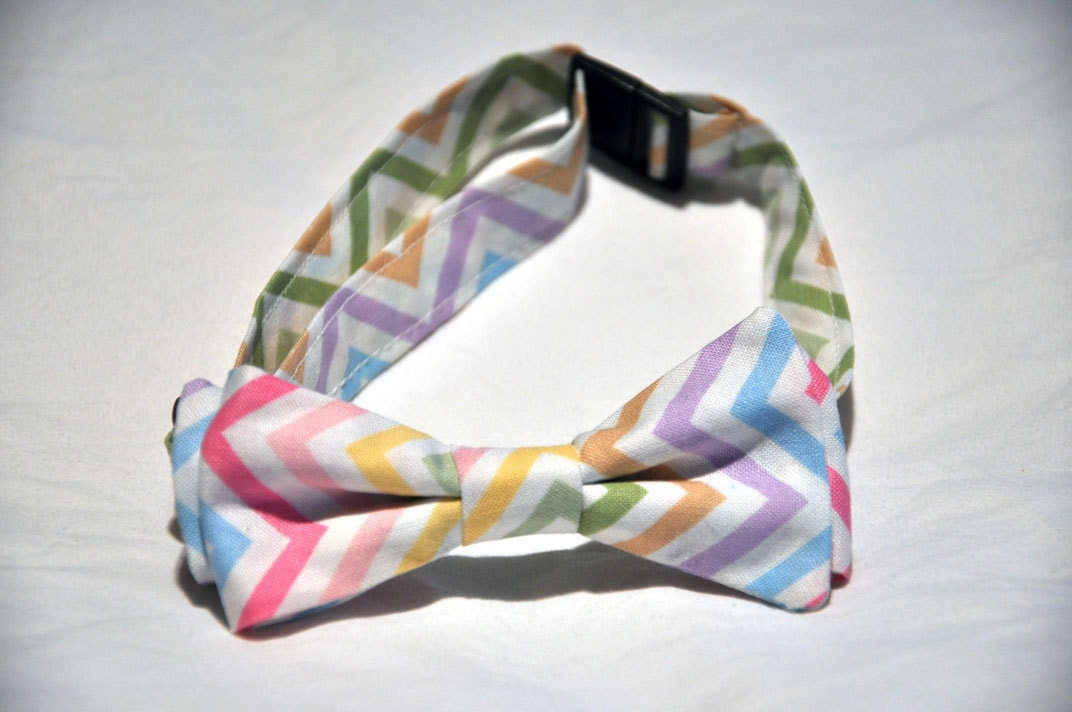 adjustable  boy bowtie for child toddler pastels easter zig zag