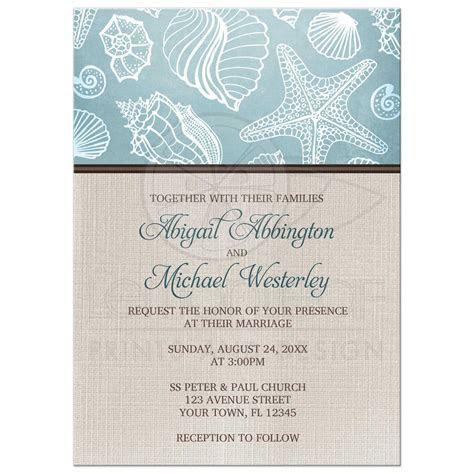 Wedding Invitations   Rustic Beach Seashells Linen