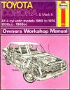 Toyota Corona And Mark Ii 4 Cyl 1969 1974 Haynes Service Repair Manual Workshop Manuals Australia