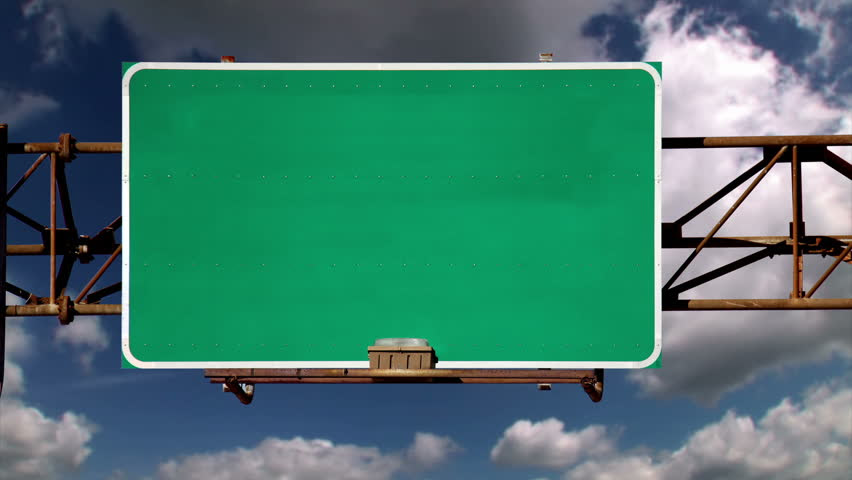Digital Animation Of Road Sign Against Blue Sky Stock Footage ...