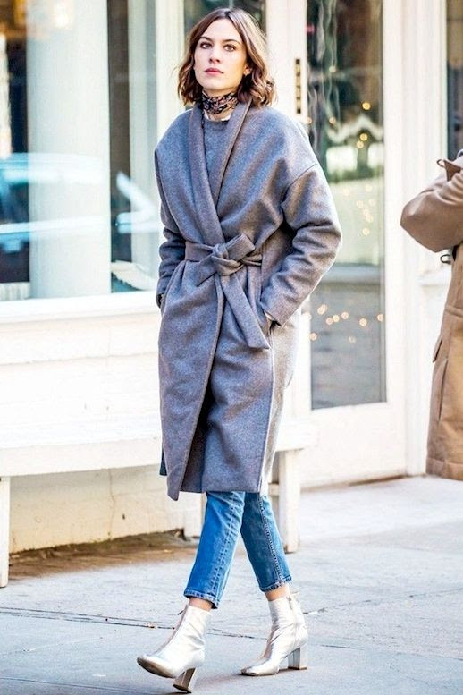 Le Fashion Blog Alexa Chung Street Style Silk Bandana Grey Wool Belted Coat Cropped Straight Leg Jeans Silver Ankle Boots Via Who What Wear