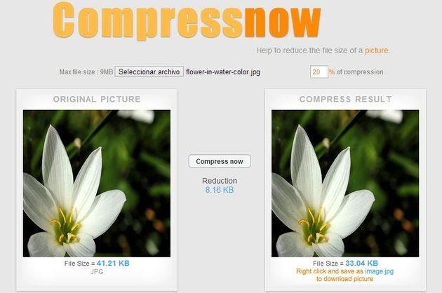 Compressnow, comprime imágenes para su uso en la web