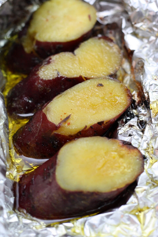 grilled sweet potatoes with butter