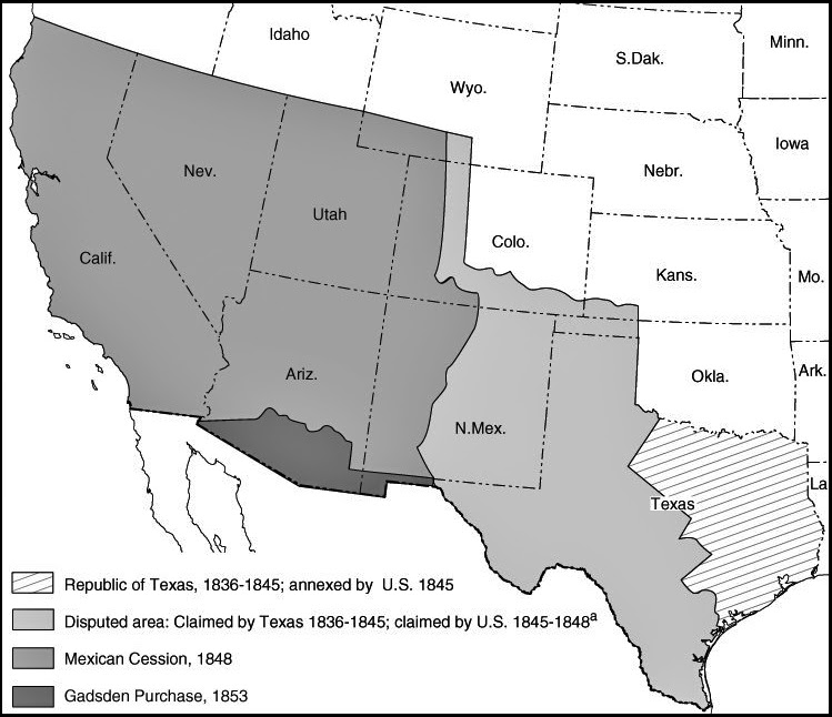 Image result for treaty of guadalupe hidalgo map