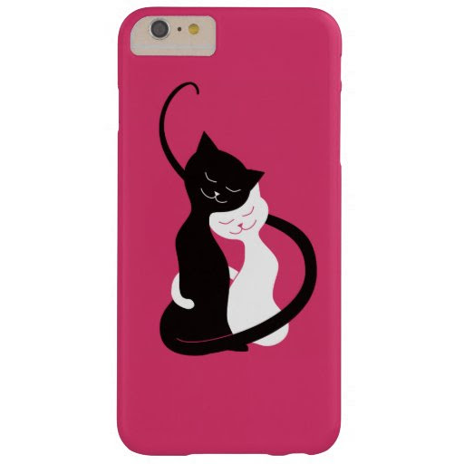 Pink Cute White And Black Cats In Love Barely There iPhone 6 Plus Case