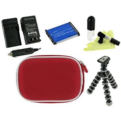 rooCASE 5n1 Nylon Hard Shell (Red) Case with Memory Foam / NP-BG1 / NP-FG1 960mAh Li-Ion Battery / AC DC Charger / Tripod / LCD Cleaning Kit for Sony Cybershot DSC-H55 14.1MP Digital Camera Silver