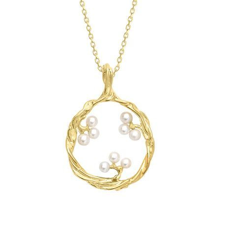 Designer Yellow Gold Willow Pearl Pendant   London Road