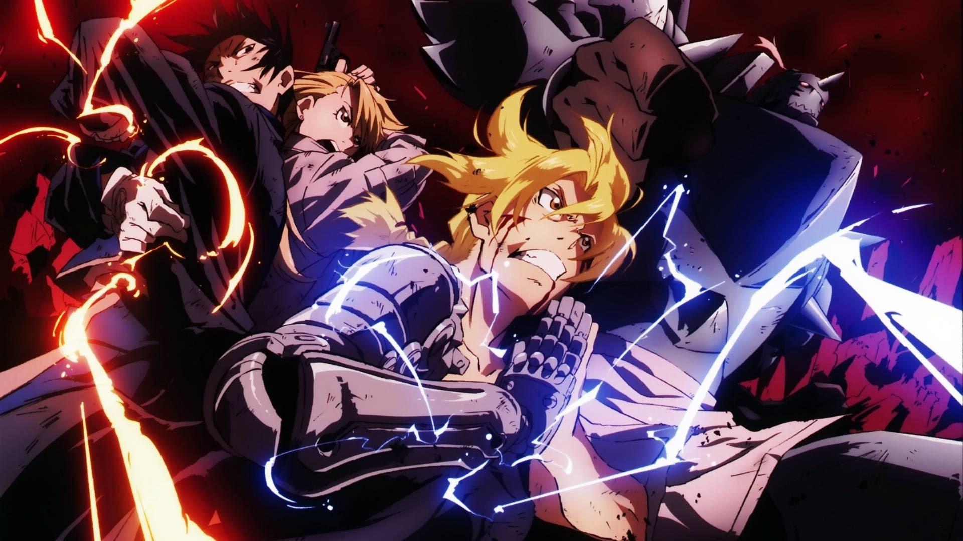 Edward y Alphonse acompañados de Roy y RIza