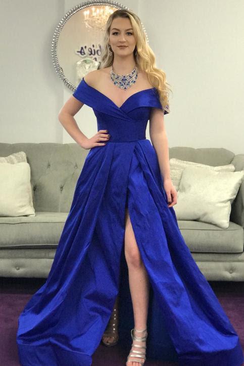 Royal blue off the shoulder bodycon dress