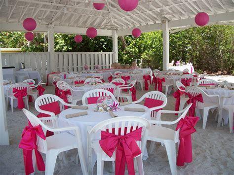 Pink wedding under the pavilion at the Sandbar   Beach