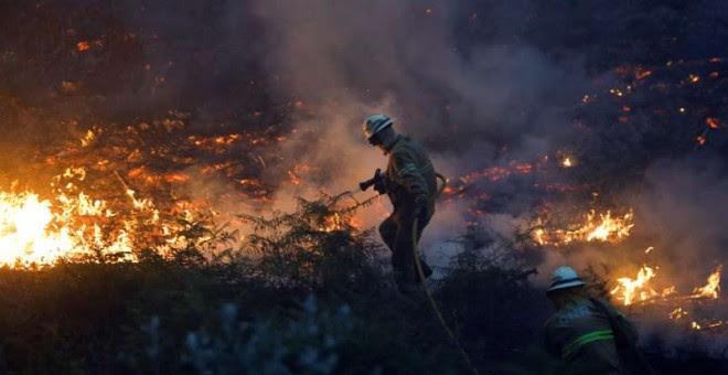 Un bombero intenta apagar un foco de fuego cerca del pueblo de Fato, en el centro de Portugal. | RAFAEL MARCHANTE (REUTERS)