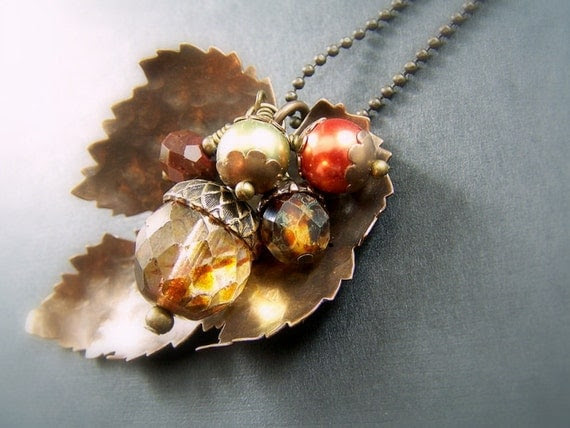 Autumn Leaf Necklace Vintaj Hammered Antique Brass Picasso Czech Glass Swarovski Pearl - Autumn Leaves - Fall Fashion