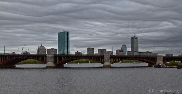 Boston under clouds, across the Longfellow Bridge