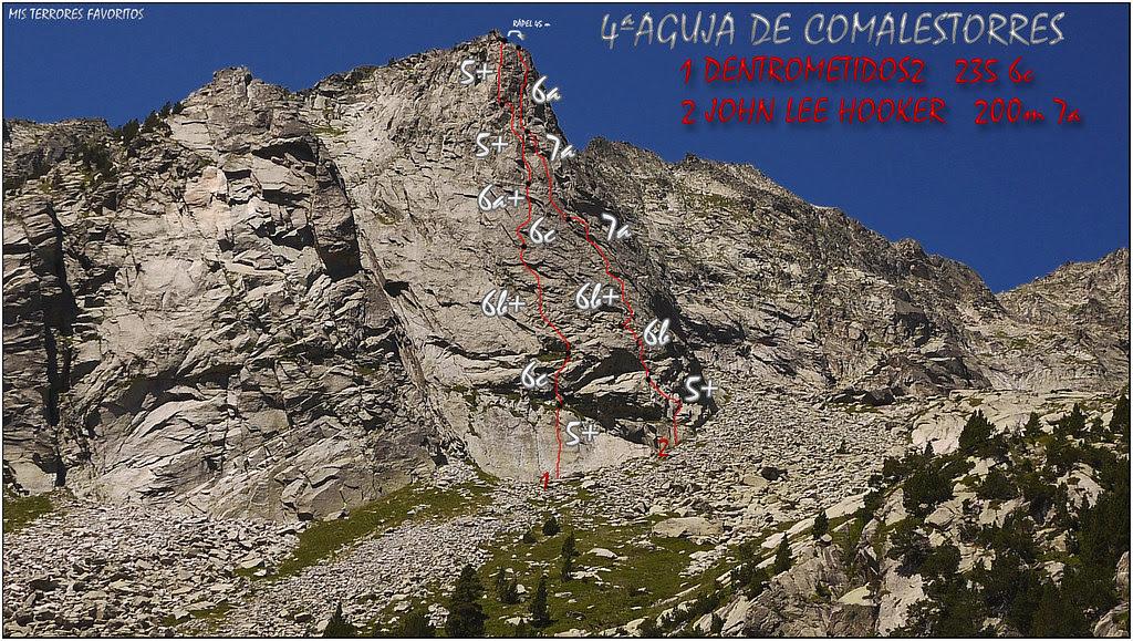 RESEÑA JOHN LE HOOKER 200m 7a Y DENTROMETI2 235 6c - 4º AGUJA DE COMALESTORRES - CAVALLERS