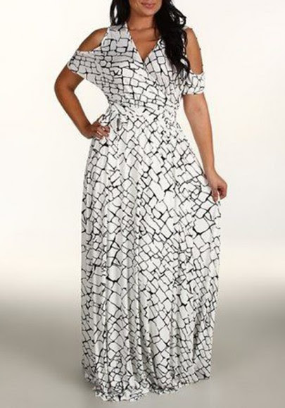 Plus size Layered Mesh Panel Cutout Back Mermaid Dress charleston