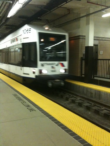 Newark subway/light rail train rolling in