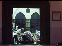 Muslims pray at a mosque in Mombasa