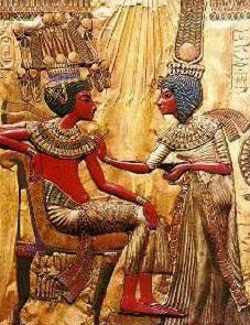 King Tutankhamun and his wife in a pose from his throne chair