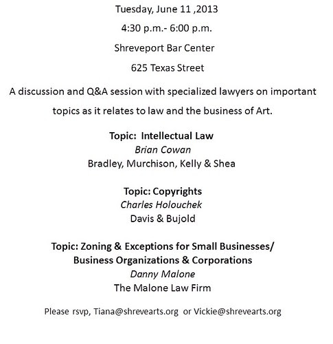 Art and Law Q & A, Tues, 6.11.13, 625 Texas St by trudeau