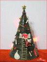 お庭の玉手箱特選クリスマスグッズ焼き物のツリーです森遊子 ツリー中 (赤点滅ライト付)