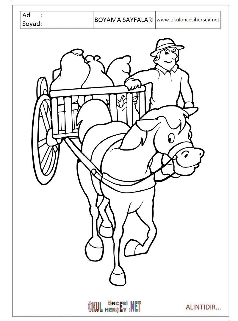 At Arabası Boyama Sayfaları