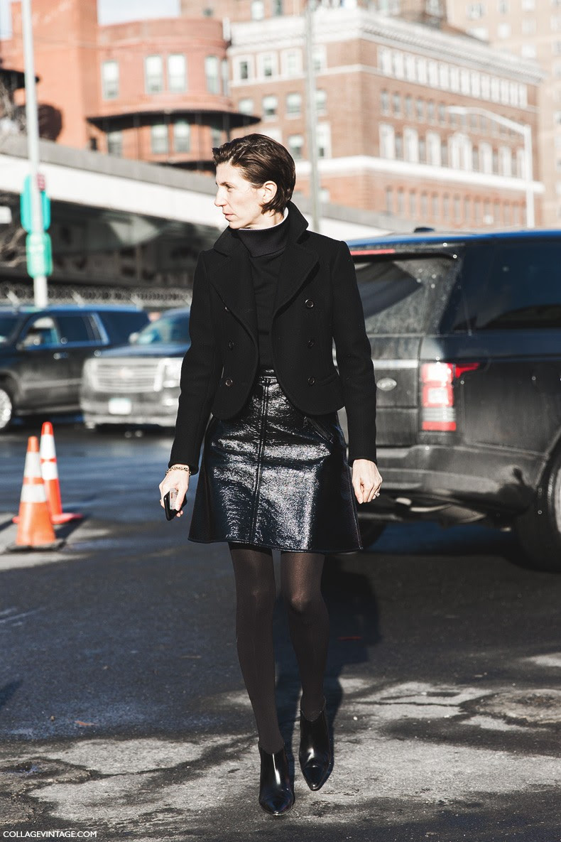 New_York_Fashion_Week-Fall_Winter_2015-Street_Style-NYFW-Marc_By_Marc-Leather_Skirt-