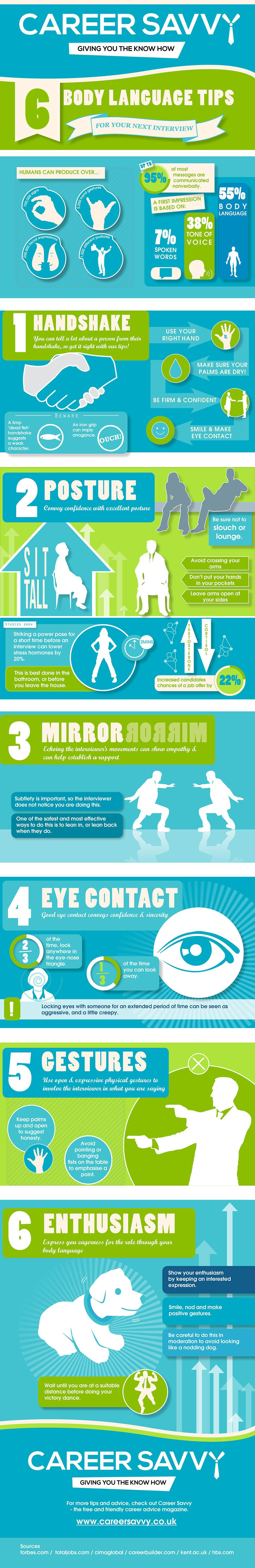 Infographic: 6 Body Language Tips For Your Next Interview [Infographic]