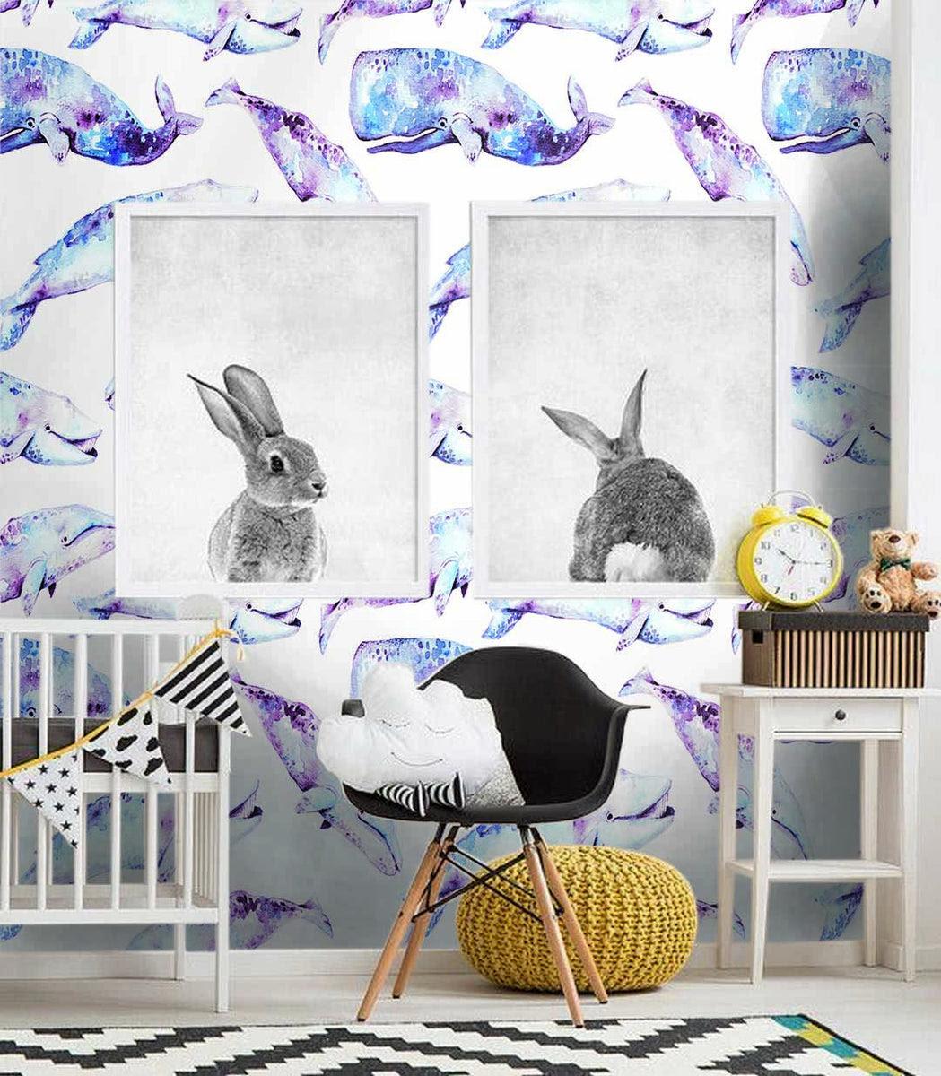 Whales Wallpaper Children Wallpaper Bedroom Wallpaper