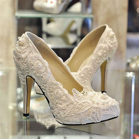 Lace and Pearl Wedding     white lace pearl women's