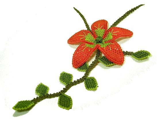 Floral jewelry with leaves in red and green, lace necklace boho flower jewelry garden eco friendly orchid necklace tatted lace fashion TAGT