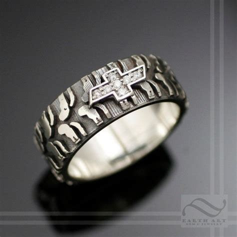Mens Chevy Tire Tread Ring with Diamond Sterling by