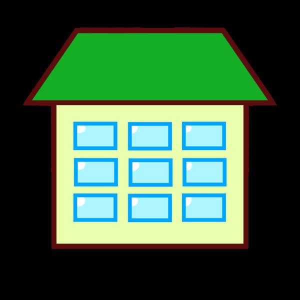 緑の屋根の建物のイラスト かわいいフリー素材が無料のイラストレイン