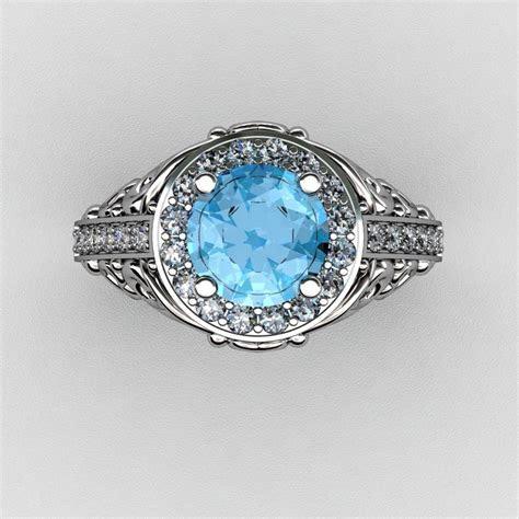 Italian 14K White Gold 1.0 Ct Blue Topaz Diamond