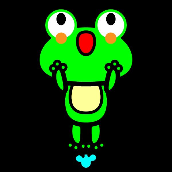 ジャンプしているかわいいカエルの無料イラスト商用フリー オイデ43