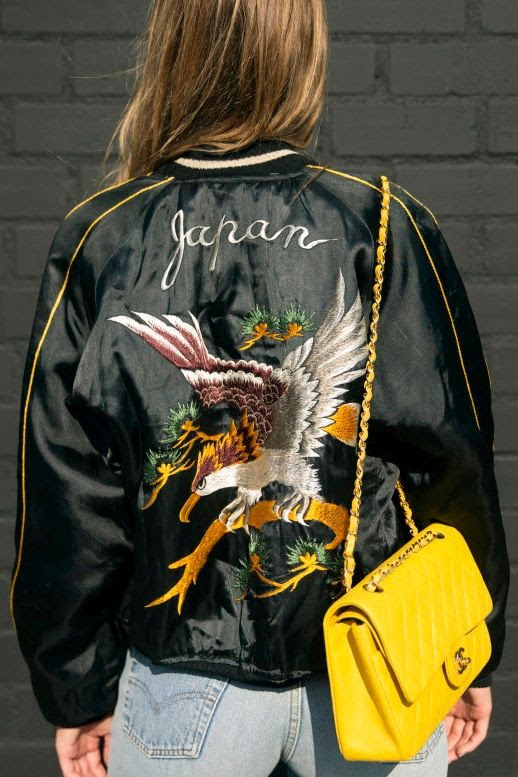 Le Fashion Blog Blogger And Model Style Japan Embroidered Bomber Jacket Bright Yellow Chanel Purse Vintage Levis Denim Via Cami Morrone