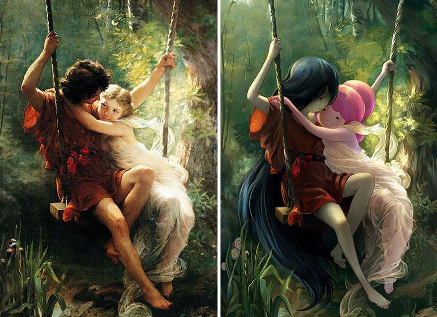 """""""Lovers On A Swing"""" By Pierre Auguste"""