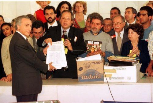 Temer, então presidente da Câmara, recebe Lula e Dirceu, em 1999