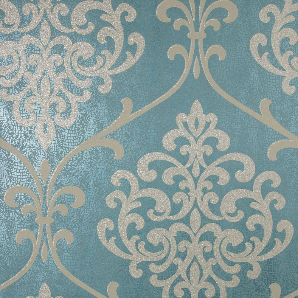 Kenneth James Ambrosia Teal Glitter Damask Wallpaper254220715  The Home Depot