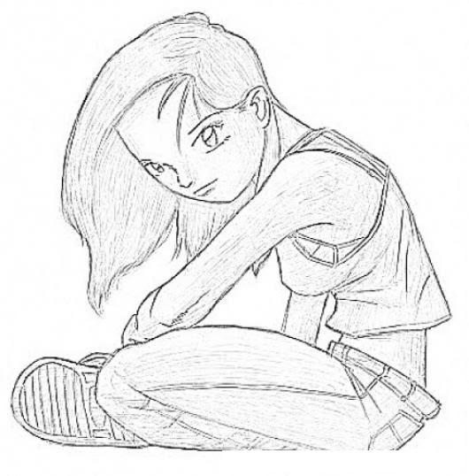 Dibujo De Chica Incomprendida Y Triste Para Pintar Y Colorear
