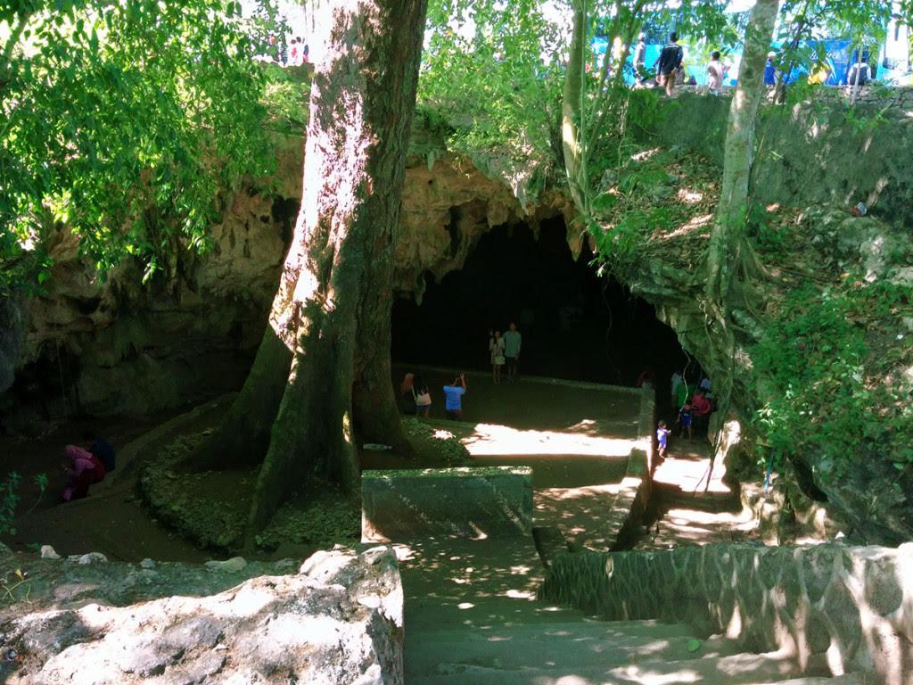 Pintu Masuk Gua Rancang Kencono lengkap dengan pohon Klumpit raksasa